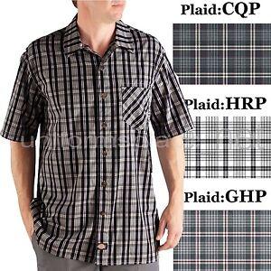 Dickies shirts mens short sleeve plaid camp shirt button for Mens short sleeve camp shirts