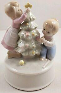 Vintage Porcelain Musical Box *Jingle Bell Rock* Boy & Girl Decorating Tree.