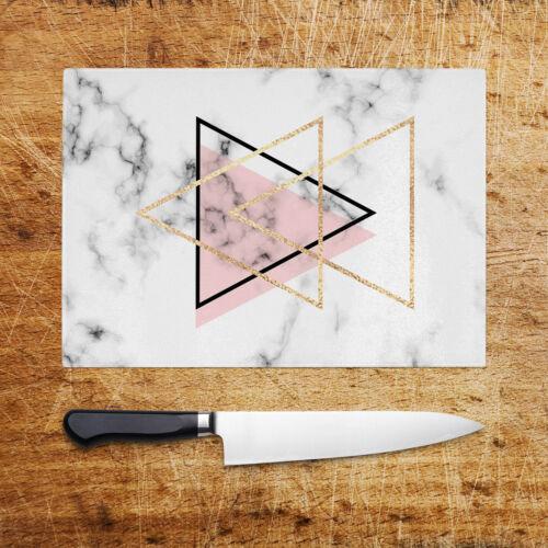 Pink Black White Marble Glass Chopping Board Kitchen Worktop Saver