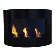 Bio Ethanol Fire Place RIVIERA Black Steel Wall Fireplace Gel Bioethanol