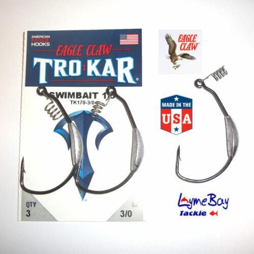 TK170 Magnum Swimbait Eagle Claw TROKAR Weedless Weighted Hooks 3//0 to 7//0