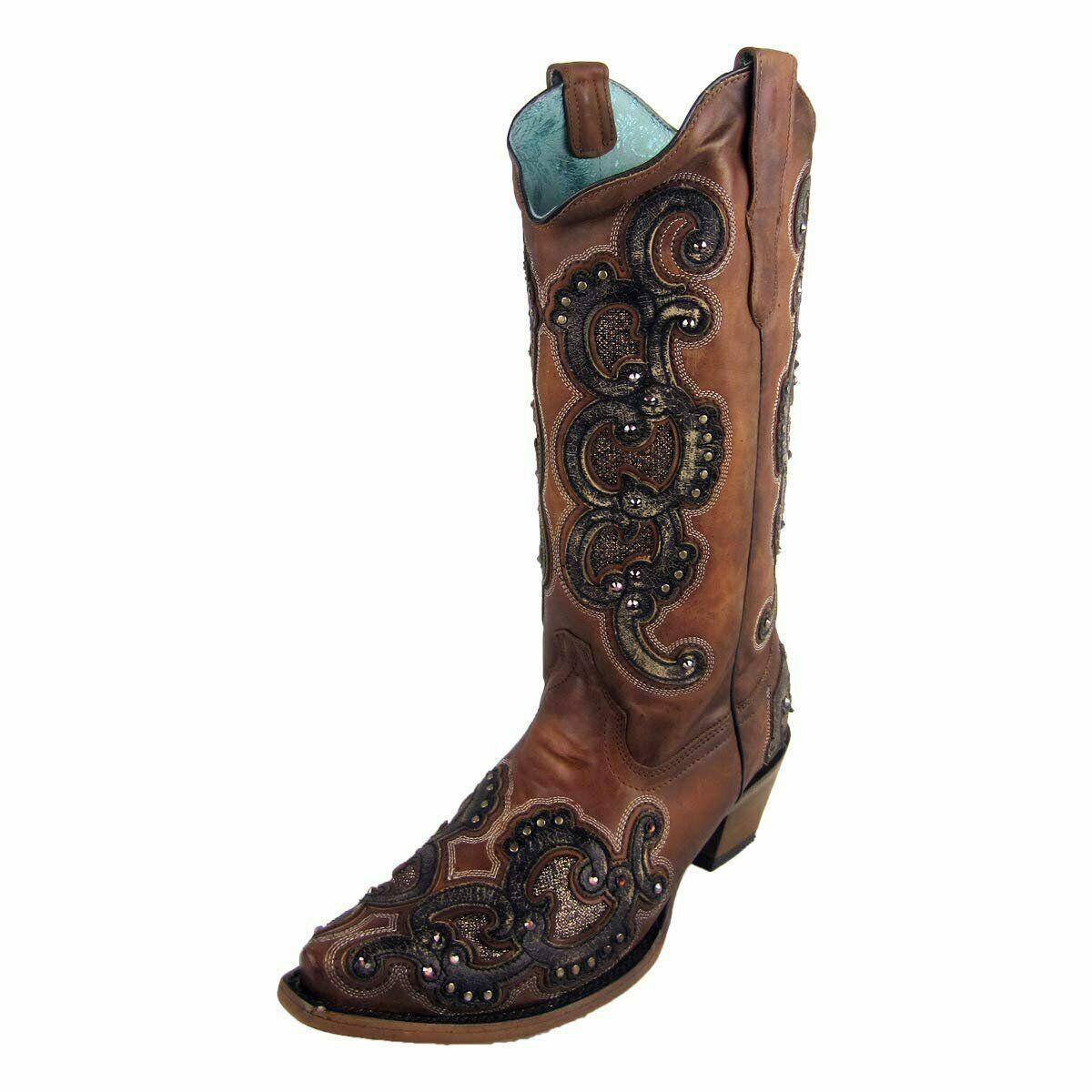 Corral Women's Honey Overlay Studs Snip Toe Boot E1508