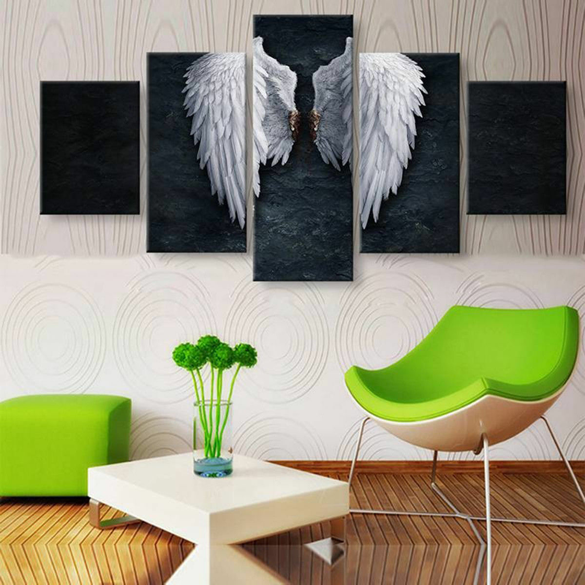 Classical blanc Angel Wings Vintage Art 5 pieces Canvas Wall Poster Home Decor