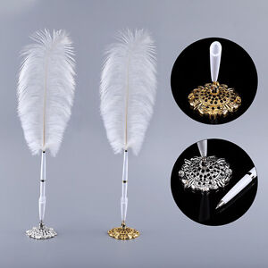 Vintage-Ostrich-Feather-Wedding-Business-Quill-Pen-Signing-Ballpoint-Writing-Pen