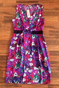 NEW-BNWT-MARKS-amp-SPENCER-RED-PURPLE-FLORAL-TUXEDO-FAUX-WRAP-DRESS-SIZE-10-EUR-38