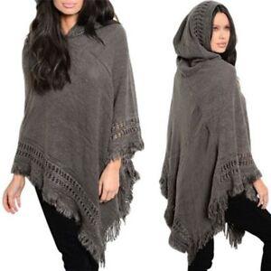Women-039-s-Knit-Batwing-Top-Poncho-Hoodie-Cape-Cardigan-Warm-Coat-Sweater-Outwear