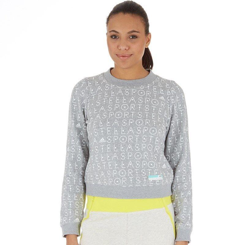 Adidas Stellasport Climalite All Over Imprimé à Encolure Ras-du-cou Sweat Gris Moyen Taille L