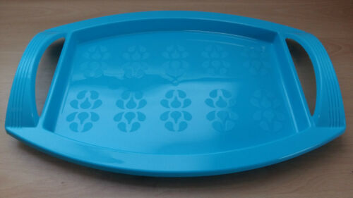 Bright Polypropylene Serving Tray With Handle Blue Pink Purple Green 45x32x6cm