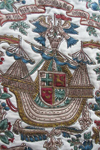 Tapestry Wall Tapestry from Bohemia medieval theme ship noble lady noble peer