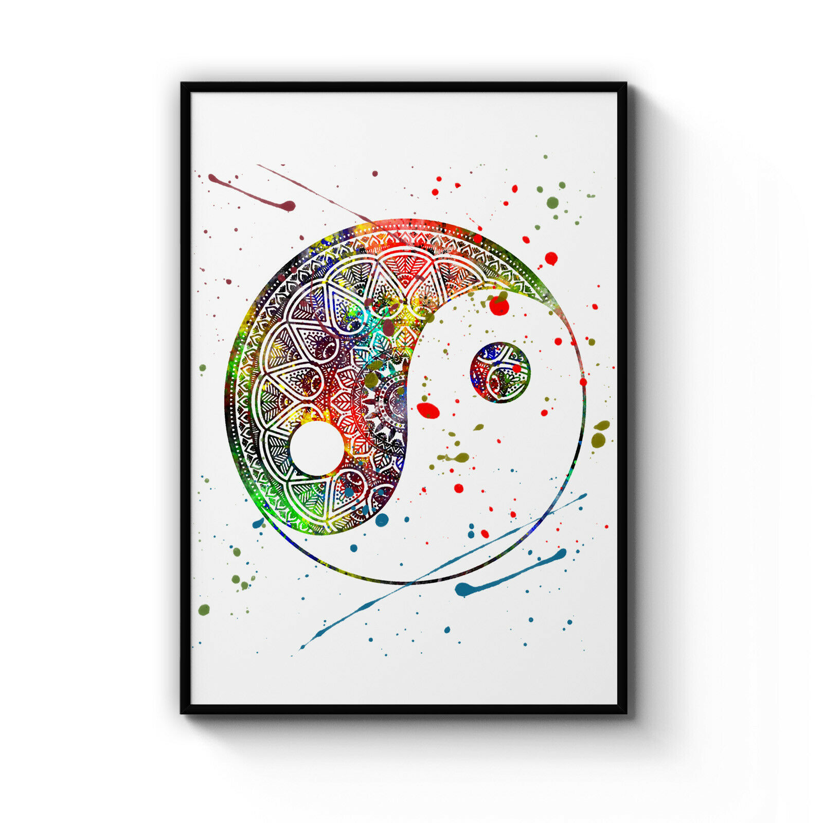 Yin Yang Mandala Pattern Yoga Buddhist Decor Poster Wall Art Print Artwork Frame