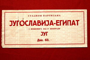 YUGOSLAVIA VS EGYPT 1952 ORIGINAL FOOTBALL TICKET ULTRA RARE VINTAGE