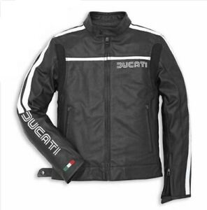 Men-039-s-Ducati-Corse-Motorbike-Motorcycle-Leather-Jacket-New-Model-All-Sizes-here