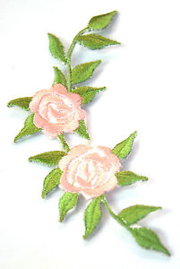 PALE-PINK-ROSE-FLOWER-Embroidered-Iron-Sew-On-Cloth-Patch-Badge-APPLIQUE