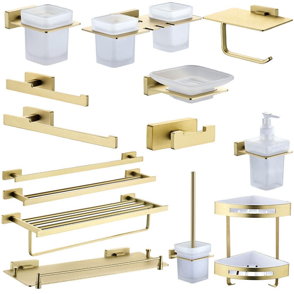 Bathroom Brushed Gold Accessory Towel Bar Shelf Toilet Paper Brush Holder Brass