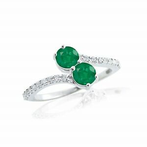 925Sterling-Silver-Natural-Certified-3Ct-Emerald-Cluster-Engagement-Ring-For-Her