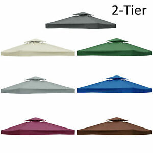2-Tier-3x3m-Garden-Gazebo-Top-Roof-Replacement-Fabric-Tent-Canopy-U