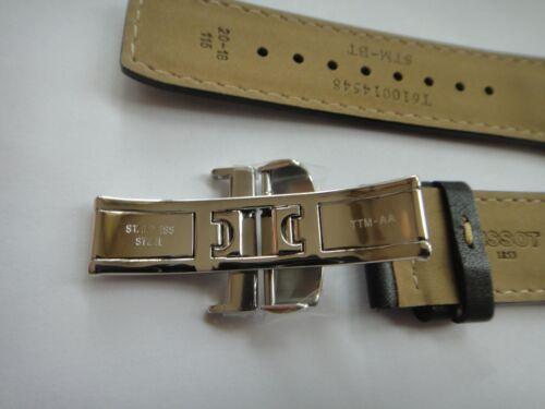 Genuine Tissot Valjoux PRS516 Black Leather Band strap bracelet /& s steel buckle