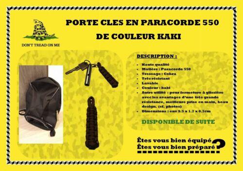lavable Lot de 2 Portes clés en paracorde 550 kaki tressage cobra resistant