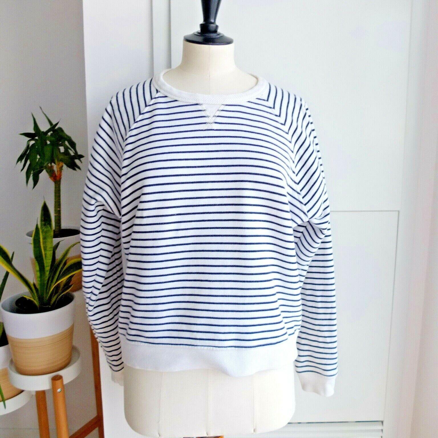 Rag & Bone Women's White Navy bluee Jean Stripe Raglan Sweatshirt Size S