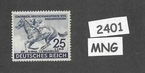 #2401  Very nice MNG stamp / 1942 Blue Ribbon Horse race / Third Reich / Hamburg