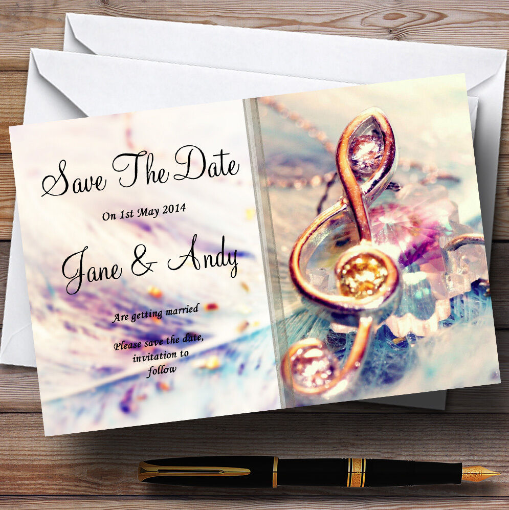 Music Treble Clef Personalised Wedding Save The Date Cards