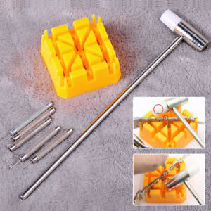 Watch-Repair-Band-Link-Remover-Tool-Kit-Hammer-Punch-Pins-Watch-Strap-Holder-LS
