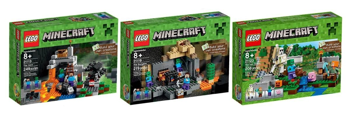 LEGO 21113,21119,21123 Minecraft-Die Höhle-Das Verlies-Der Eisengolem-OVP-Neu