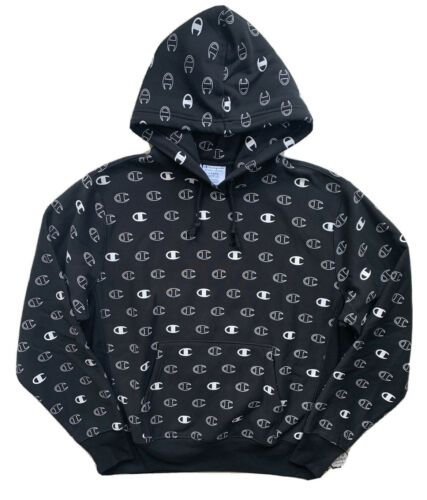 CHAMPION LIFE Mens Reverse Weave All Over C Logo Pullover Black Hoodie NWT LARGE