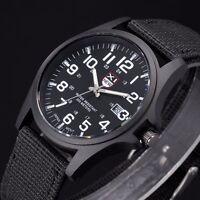 Montre Militaire A Quartz Sport Pour Homme Bracelet En Tissus Date Couleur Noir