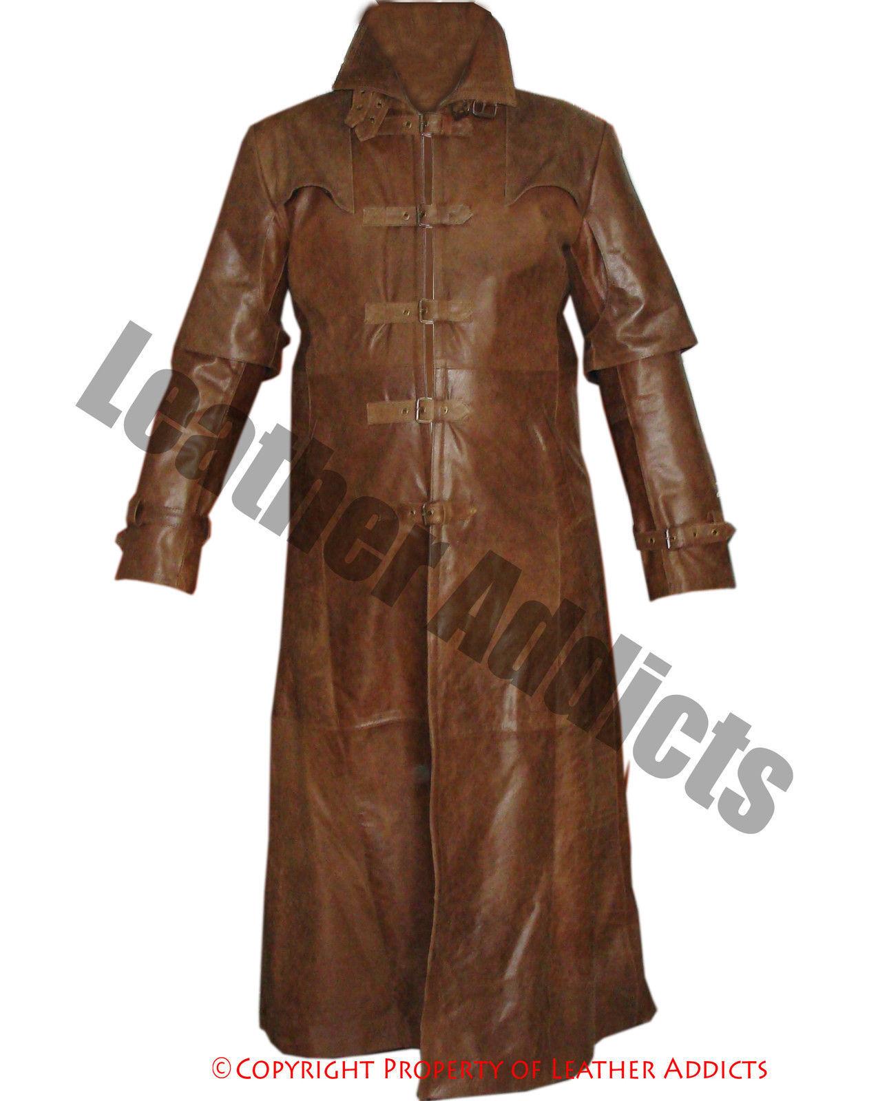 Hommes Trench-Coat Marron Véritable Helsing Cuir Gothique Matrice Steampunk Helsing Véritable 70bc6c
