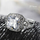 18K WHITE GOLD FILLED CLEAR CRYSTAL WEDDING BAND ENGAGEMENT RING PRINCESS CUT