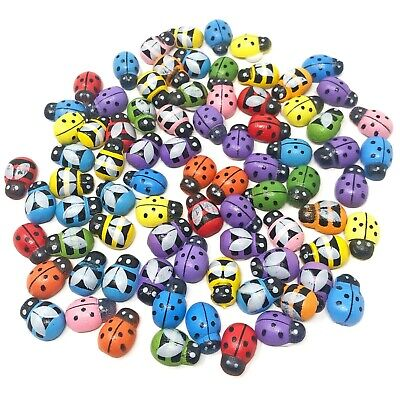 Mini 9x12mm Multicoloured Mixed Bees /& Ladybirds Wooden Craft Card Wood Toppers
