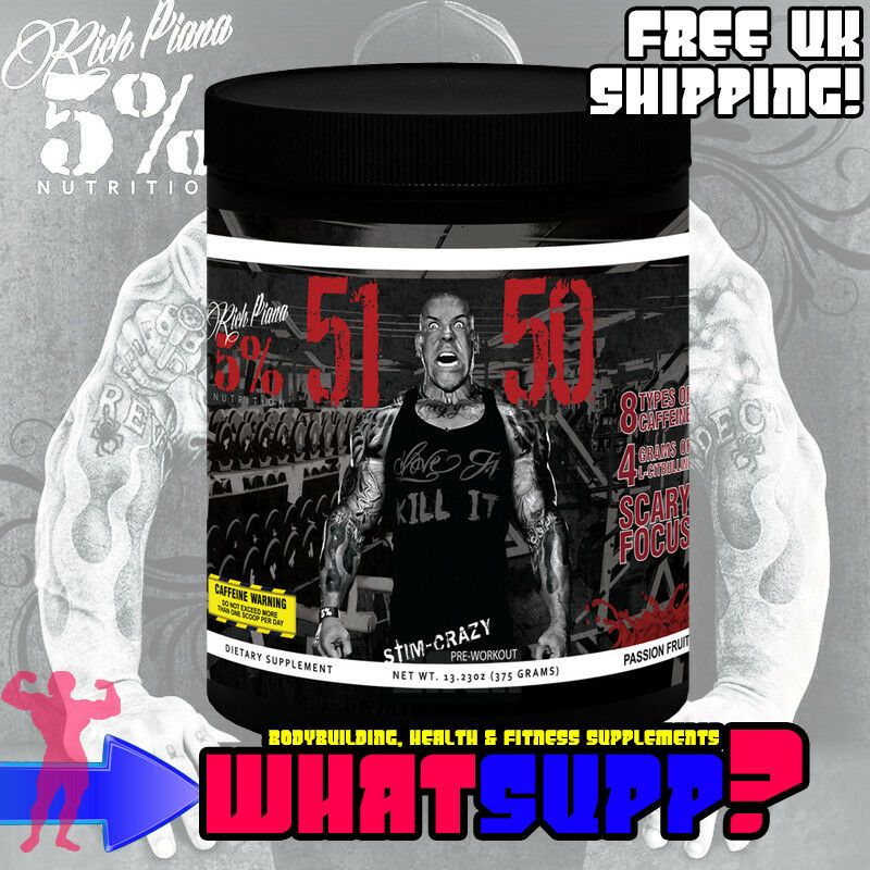 RICH PIANA 5% Nutrition 5150 Passion Fruit 375g Stim-Crazy Stim-Crazy Stim-Crazy Pre-Workout  Focus EU ccd600