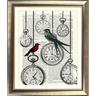 ART PRINT ON ANTIQUE BOOK PAGE Shabby Chic Bird watches CLOCKS DICTIONARY ART
