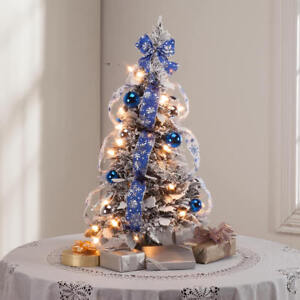 2 Foot Tall Pop Up Fully Decorated Pre Lit Silver Blue Frosted