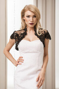 New-Womens-Evening-Party-Wedding-Black-Lace-Bolero-Shrug-Jacket-Size-8-10-12-14