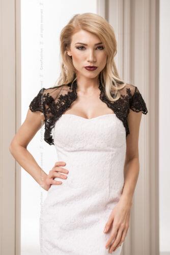 Shrug Party Taglia 10 12 Bolero Black Womens Lace 14 New Wedding 8 Jacket Evening HRpCq