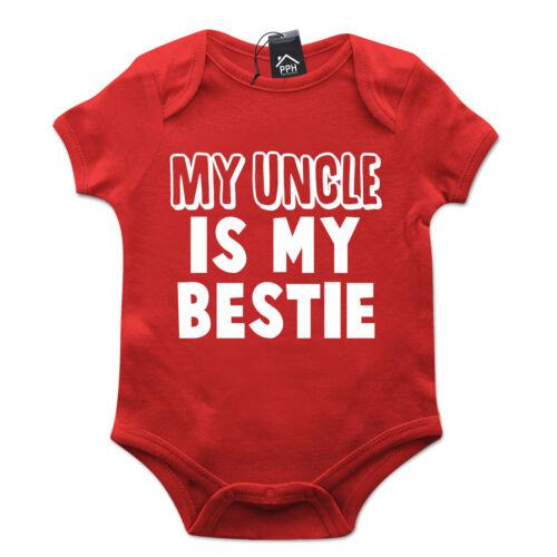 My Uncle is my Bestie Funny Babygrow Cute Tshirt Gift Baby Grow New Born B26