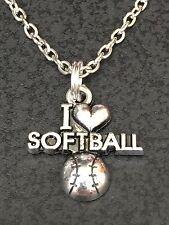 "Softball I Love C Charm Tibetan Silver 18"" Necklace BIN"