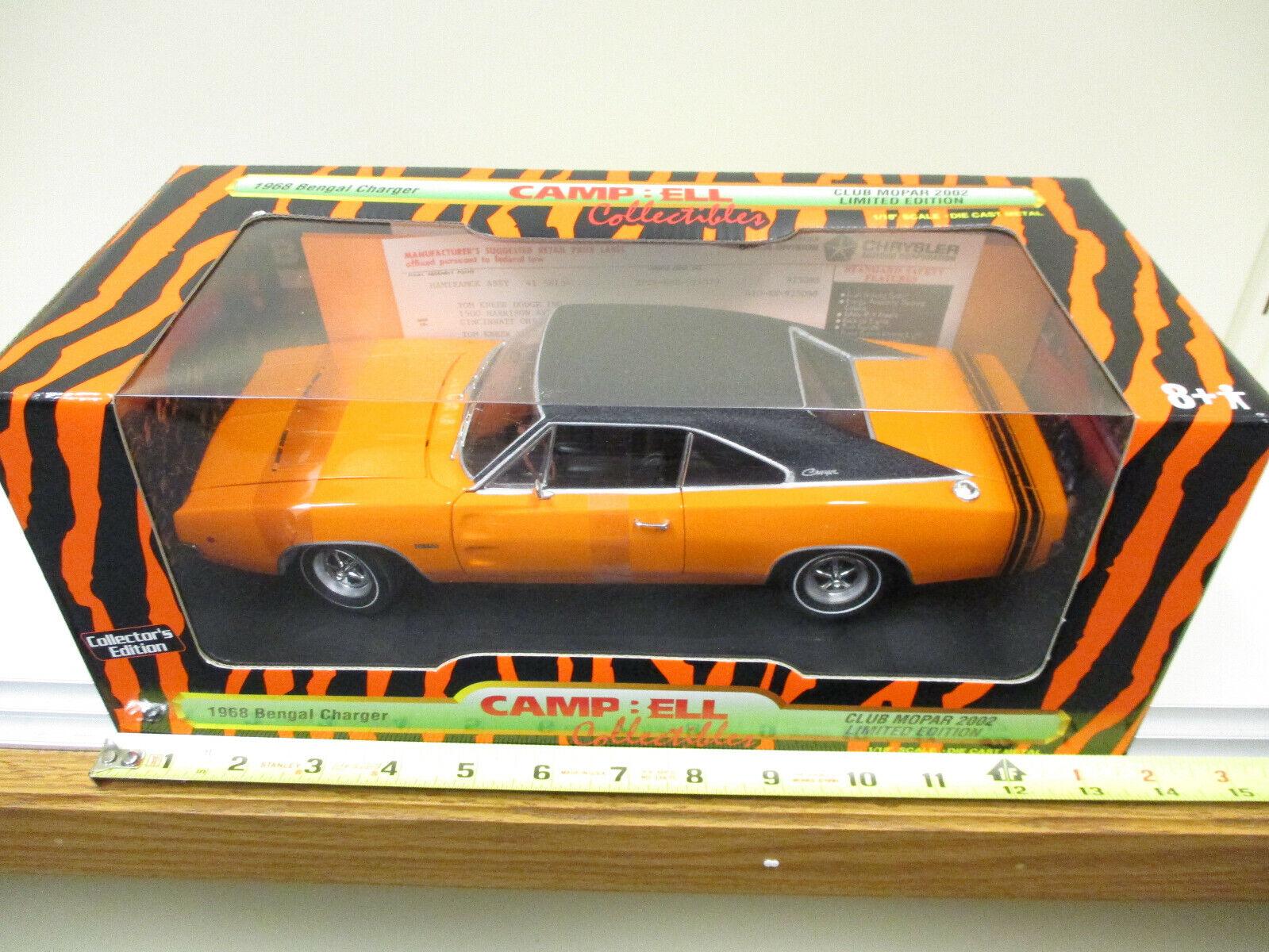 1968 Orange DODGE Bengale Chargeur 2002 Limited Edition BY ERTL échelle 1 18th
