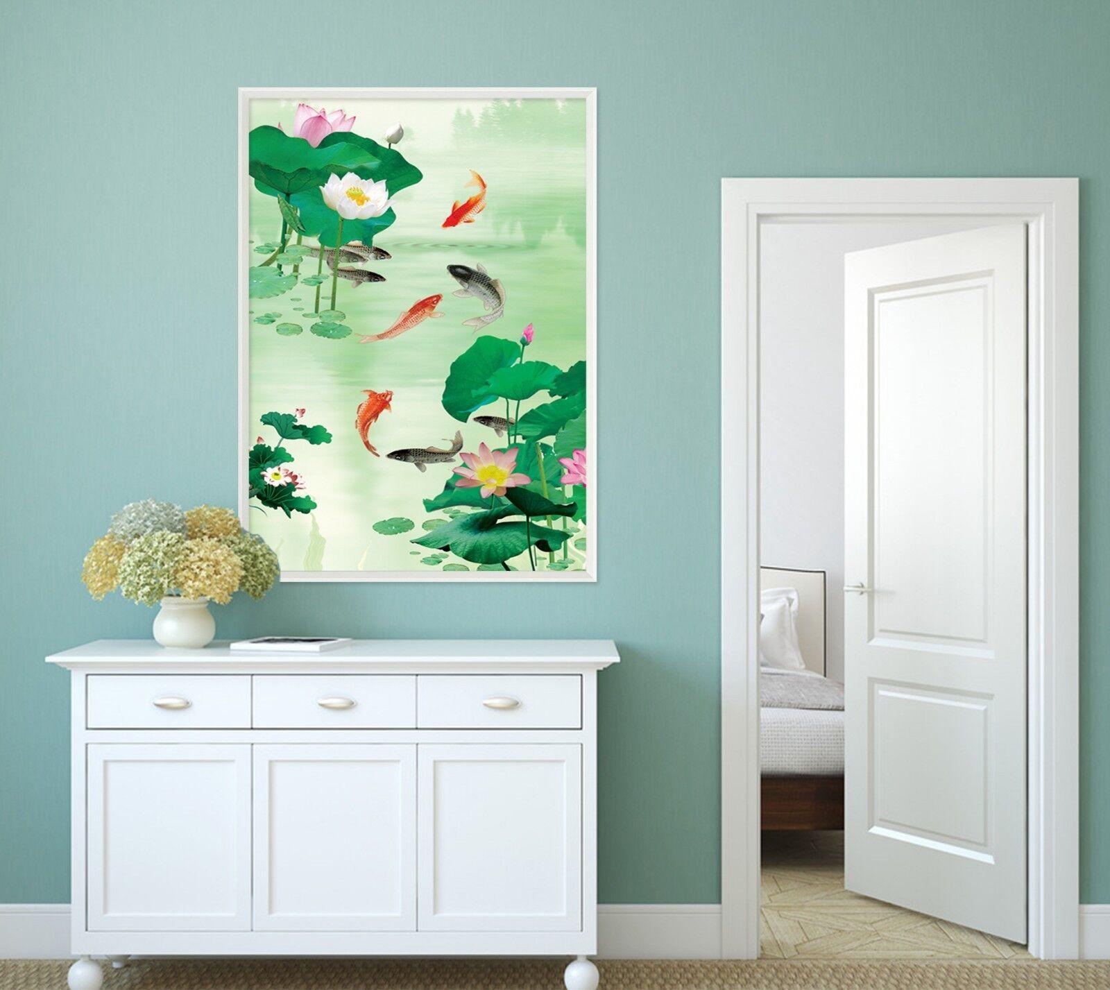 Estanque de peces 3D 2 Póster Enmarcado De Loto Decoración del Hogar Pintura de Impresión Arte AJ Wallpaper