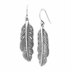 Silpada-039-Etched-Feather-039-Drop-Earrings-in-Sterling-Silver