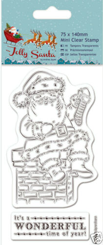Docrafts Papermania Jolly Santa on the chimney Christmas clear rubber stamp 2pcs
