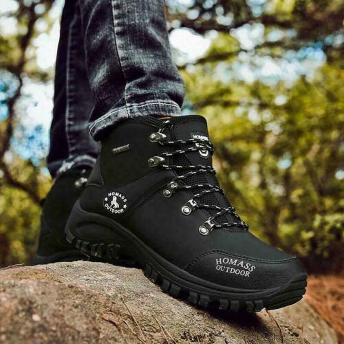 WATERPROOF MENS LEATHER HUNTING HIKING TRAIL ANKLE BOOTS SPORTS ATHLETIC SHOES