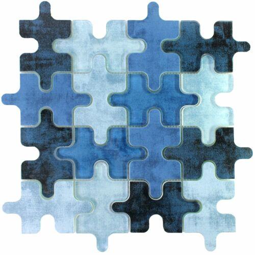 Glasmosaik Fliesen Puzzle BlauDuschwand Badezimmer Bad Tischdeko Dekor