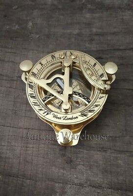 Nautical Solid Brass Working Sundial Compass West London Marine Decor Compass