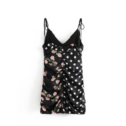 Women Polka Dot and Floral Print Vintage Ruffles Evening Party Short Dress Mini