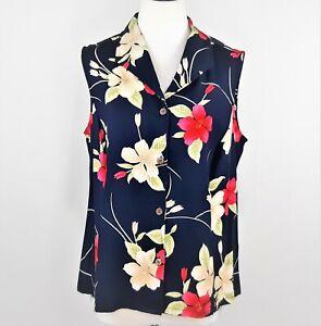 Havana-Jack-Cafe-Sleeveless-Tropical-Hawaiian-Top-Womens-1X-Hibiscus-Flowers