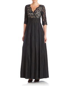 Eliza J Lace & Faille A-Line Gown  (size 16)