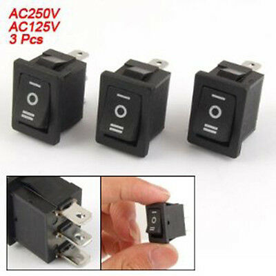 1 X New Rocker Switch 3-Pin 250V6A 125V10A Black Plastic (3-Way I-0-II, SPDT, 3P